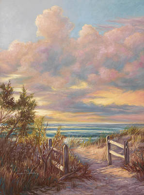 Sunset Painting - Beach Walk by Lucie Bilodeau