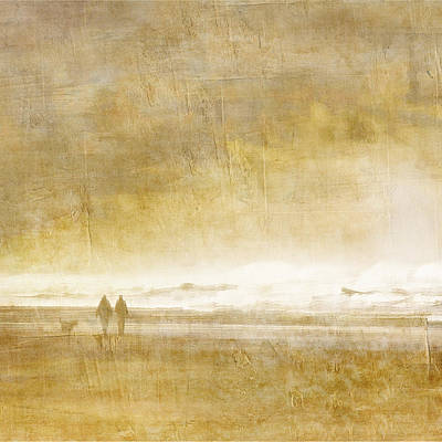 Beach Walk Square Art Print by Carol Leigh