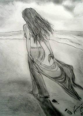 Contemplative Painting - Beach Walk by Veronica V Jackson