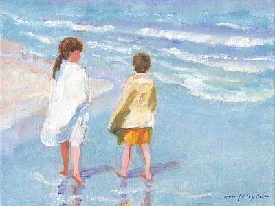 Painting - Beach Walkers by J Reifsnyder