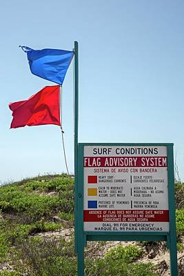 Beach Warning Flags Art Print by Jim West
