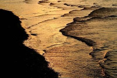 Lake Sunset Photograph - Beach Waves by Heather Allen