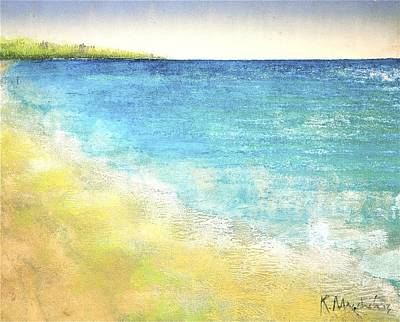 Viridian Painting - Beach Waves by Kaata    Mrachek