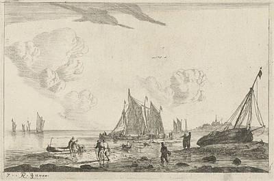 Beach With A Sailing Ship Drawn On The Sand Art Print
