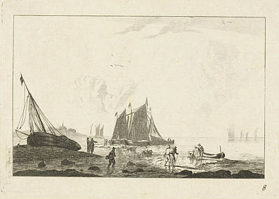 Beach With A Sailing Ship On The Sand, Anonymous Art Print