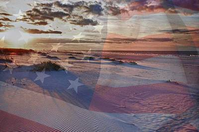 Digital Art - Beach With Flag by Michael Thomas