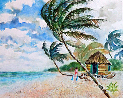 Painting - Beach With Palm Trees by Carolyn Jarvis