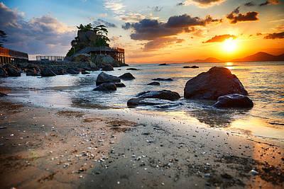 Beach With Rocks Art Print by Keith Homan