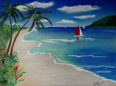 Beach With Sailboat Art Print