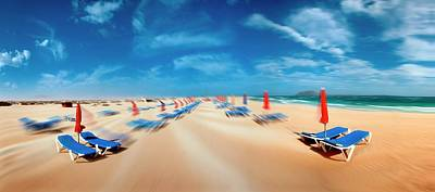 Beach With Sunloungers Art Print by Wladimir Bulgar