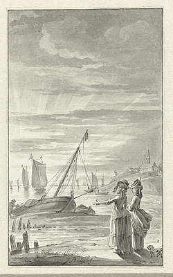 Two Ladies Drawing - Beach With Two Ladies, Jacobus Buys by Quint Lox