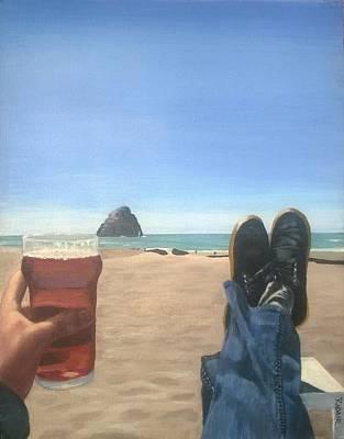Painting - Beach....beer by R Adair