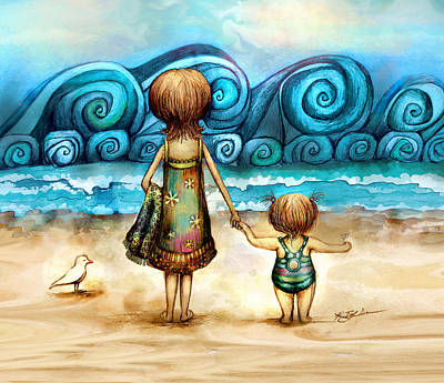 Digital Art - Beachcombers by Karin Taylor