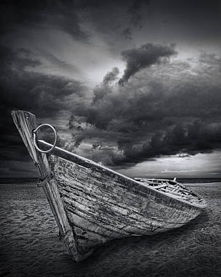 Animal Paintings David Stribbling - Beached Boat with Storm Brewing by Randall Nyhof