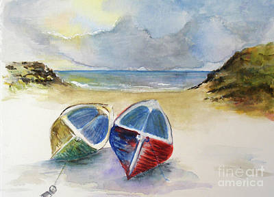 Painting - Beached Boats by Sibby S