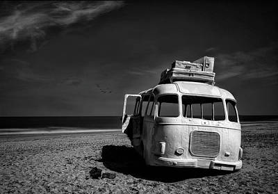 Monochrome Photograph - Beached Bus by Yvette Depaepe
