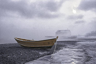Photograph - Beached Dory In Sub Zero Sea Smoke by Marty Saccone