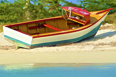 Beached Fishing Boat Of The Caribbean Art Print