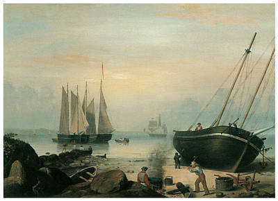 Fitz Painting - Beached For Repairs Duncan's Point Gloucester by Fitz Hugh Lane