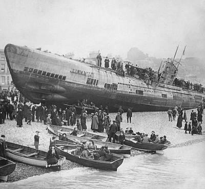 Beached German Submarine Art Print by Ny State Military Museum