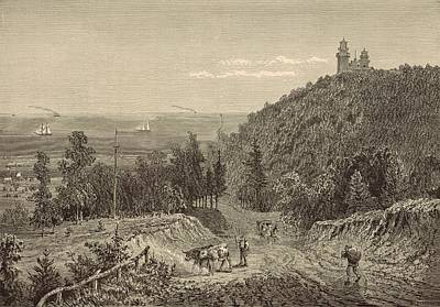 Lighthouse Drawing - Beacon Hill At Neversink Highlands 1872 Engraving by Antique Engravings