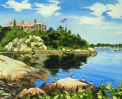 Shell Beach Inn Painting - Beacon Rock Brenton Cove Newport Rhode Island by Christine Hopkins