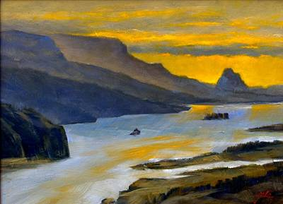 Wall Art - Painting - Beacon Rock From Oregon Side by Jim Gola