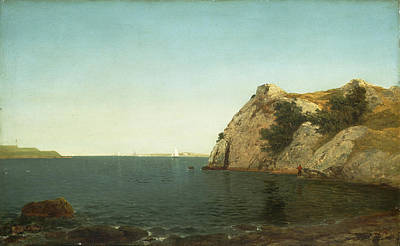 Distant Painting - Beacon Rock Newport Harbour by John Frederick Kensett