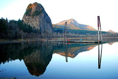 Photograph - Beacon Rock Reflecions by Kathy Sampson
