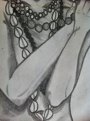 African Waist Beads Drawing - Beaded Beauty by Amanda Lavoy