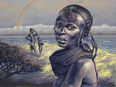 African Woman Painting - Beads by Dennis Goff