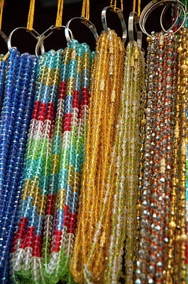 Glass Beads Photograph - Beads For Sale, Pushkar, Rajasthan by Inger Hogstrom
