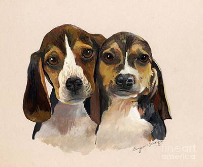 Beagle Puppies Painting - Beagle Babies by Suzanne Schaefer