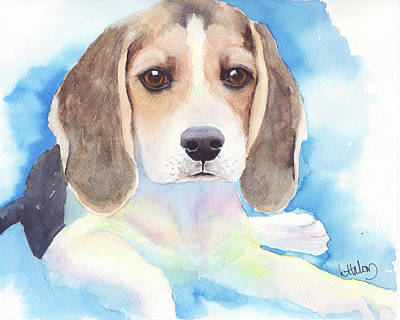 Beagle Puppies Painting - Beagle Baby by Greg and Linda Halom