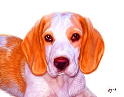Beagle Dog On White Background Art Print by Iain McDonald
