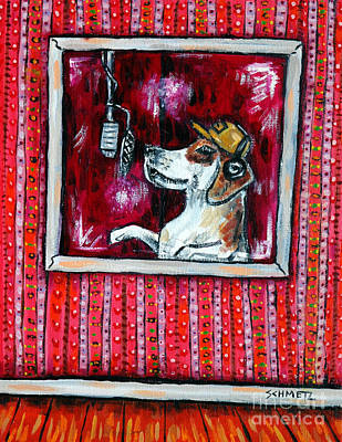 Beagle In The Vocal Booth Art Print by Jay  Schmetz