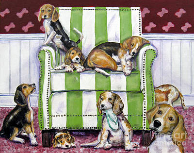 Painting - Beagle Mania by Chris Dreher