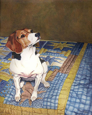 Bed Quilts Painting - Beagle On A Patchwork Quilt by Paige Wallis