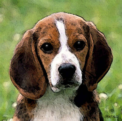 Painting - Beagle Puppy by George Pedro