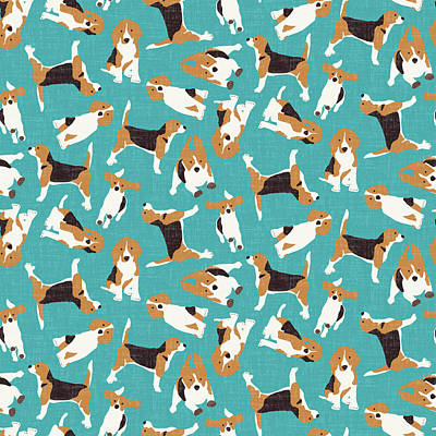 Beagle Dog Drawing - Beagle Scatter Blue by Sharon Turner