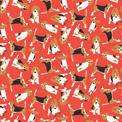 Beagle Scatter Coral Red Print by Sharon Turner