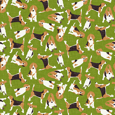 Beagle Scatter Green Print by Sharon Turner