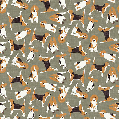 Pattern Drawing - Beagle Scatter Stone by Sharon Turner