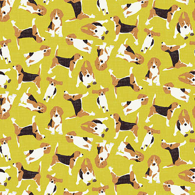 Beagle Dog Drawing - Beagle Scatter Yellow by Sharon Turner