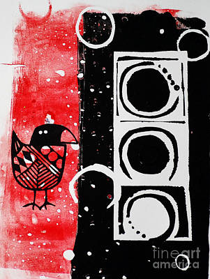 Beak In Red And Black Art Print by Cynthia Lagoudakis