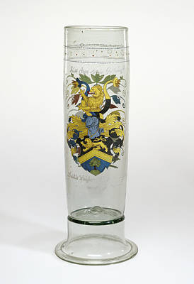 Czech Drawing - Beaker With The Arms Of Puchner Stangenglas Unknown Czech by Litz Collection