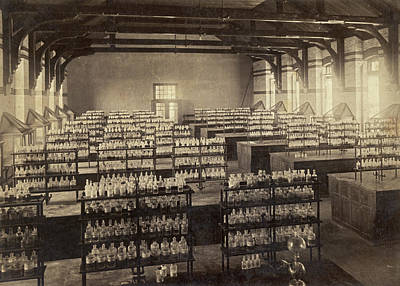 In A Row Photograph - Beakers And Bottles by Underwood Archives