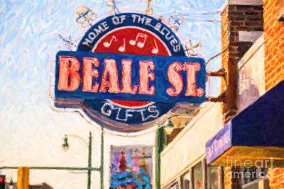 Digital Art - Beale St. Sign Memphis Tn Usa by Liz Leyden