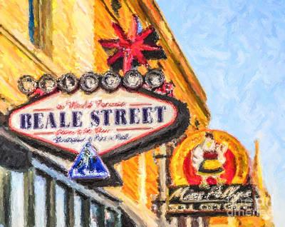 Digital Art - Beale Street Signs by Liz Leyden