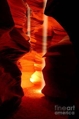 Beams Of Light In Antelope Canyon Art Print